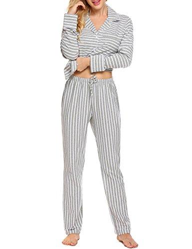 - Ekouaer Nightwear Woman Loungewear Set Lightweight Soft Knit Pajama with Pant (Gray, Large)
