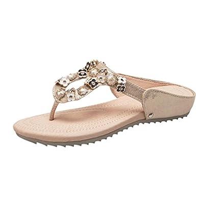 Clearance! Hot Sale! ? Universal Bohemia Gladiator Sandal for Women, Junior Girl Flower Rhinestone Flip-Flop Slide Slipper Wedge Heel Open Toe Wide Width Sandal Flat Summer Shoes