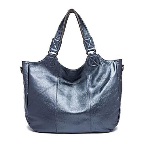 Blue Travel Capacity European Large Bag Leather Style Messenger Leisure Lady 6RzafW