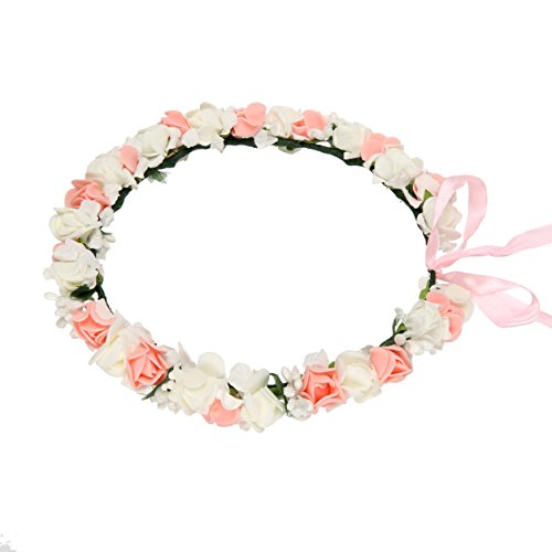Flower Crown for Women, Floral Wreath Headband with Adjustable Ribbon for Wedding, Party, Festival, Birthday (Bridal Headpiece Flower Girl Wreath)