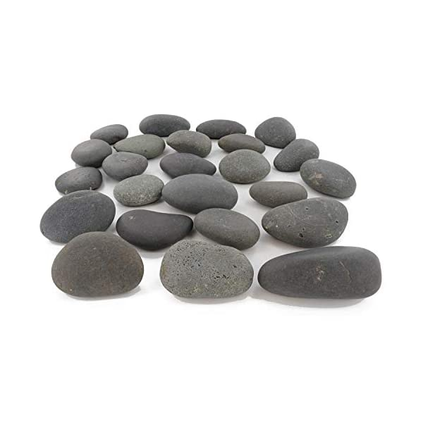 24-Rocks-for-Painting-Flat-Smooth-Kindness-Rocks-for-Arts-Crafts-and-Decoration-Stones-wEasy-Paint-Surface-2-to-35-inches-Set-of-24-Black