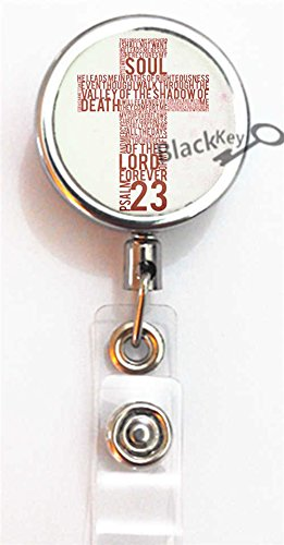 BlackKey Christian Cross Lords Prayer Cross Retractable ID Card Badge Holder Reel with Lanyard & Belt Clip -852