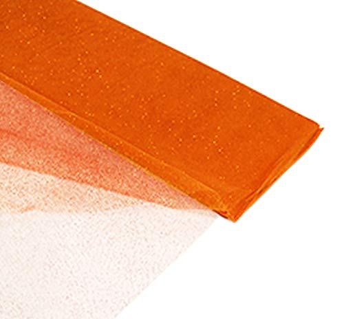 """54"""" by 10 Yards (30 ft) Glitter Fabric Tulle Bolt for Wedding and Decoration (Orange)"""