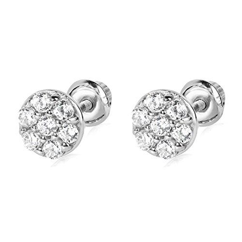 14k WG Round Stud Earrings 4881 (Wg Round Studs)
