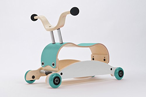 Wishbone Mini-Flip Mix & Match in Aqua White Aqua - Baby Walker That Converts - 3-in-1 Walk, Scoot and Rock ()