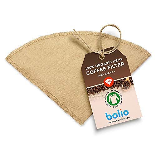 Organic Hemp Cone Coffee Filter Reusable and Great for Making Smooth Natural Tasting Pour Over Coffee Eco-Friendly Bacteria Resistant Material Suit with Bolio Chemex Coffee Gator Carafe (No.4, - Carafe Products