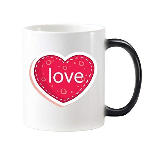 SIDIA home Valentine's Day Pink Heart Shaped Love with Dotted Circles Illustration Pattern Morphing Heat Sensitive Changing Color Mug Cup Milk Coffee with Handles 350 Ml -