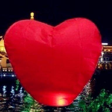 CITY Heart Shape Paper Lantern Wishing Lamp Sky Lanterns Flying Wishes Red (Party City Wish Lanterns)