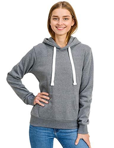 Juniors Fleece Hoodie - esstive Women's Basic Fleece Pullover Hooded Sweatshirt, Heather Grey, X-Small
