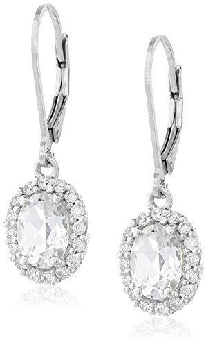 White Topaz Gemstone Earrings (Sterling Silver Oval White Topaz Halo Leverback Earrings)