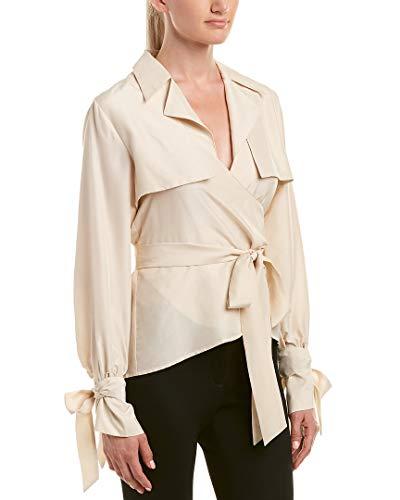 Nicole Miller Women's Solid Silk Habotai Safari Wrap Top, Whipped Cream, P