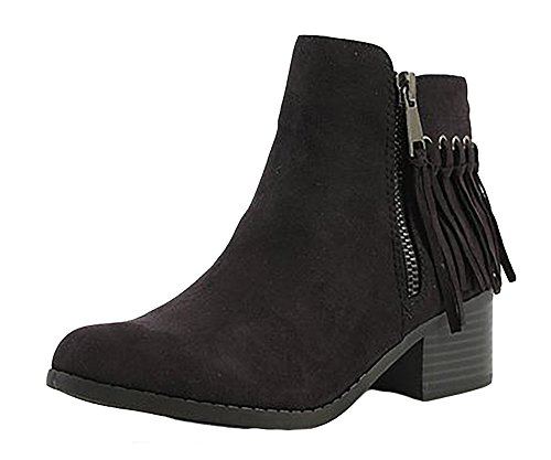 City Classified Women's Western MVE Shoes Pointy Toe Fringe Stacked Heel Ankle Bootie , mve shoes bean black size 7