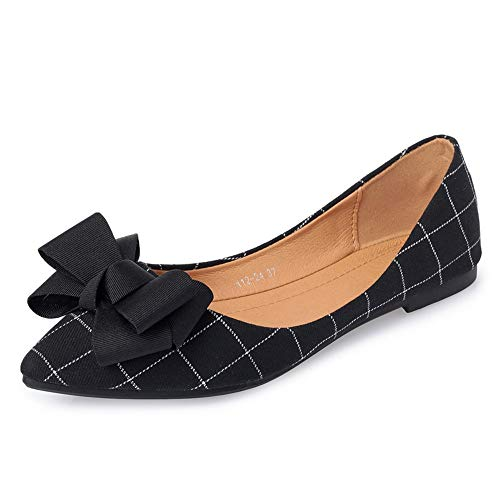 shallow shoes mouth ladies shoes casual Sweet work office Black pointed bow single shoes FLYRCX vEqw6pZ