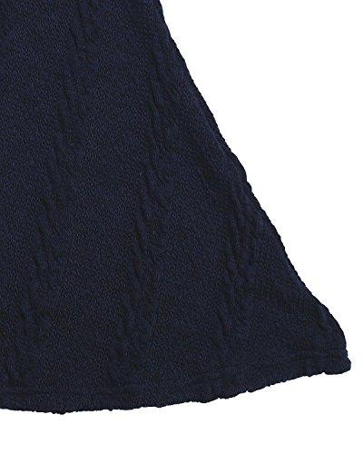 Cuello Marino Gasa Casual Vestido Largas Algodón Corto Lazo sin Redondo Azul Elegante Mangas Mujer Encaje ZANZEA UZw8q1w