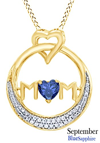 AFFY Simulated Sapphire MOM Circle Pendant Necklace in 14K Yellow Gold Over Sterling Silver (Pendant Sapphire Necklace Circle)