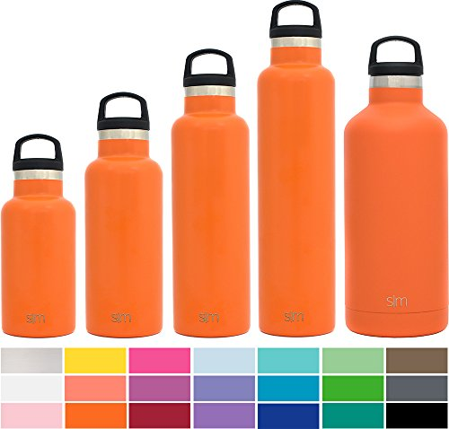 Custom Water Bottles - Simple Modern 20oz Ascent Water Bottle - Stainless Steel Hydro Swell Flask w/Handle Lid - Double Wall Vacuum Insulated Orange Reusable Tumbler Small Kids Coffee Leakproof Thermos - Autumn