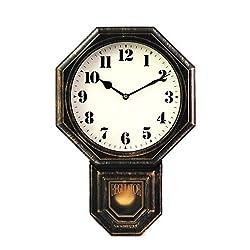 Signature Dark Iron Antique Pendulum Wall Clock, Simulate Metallic Vintage Texture, Non Ticking Silent Sweep Quartz Movement, 11.4 x 17 x 2.4, Retro Classic Style, Plastic Frame with ABS Glass.