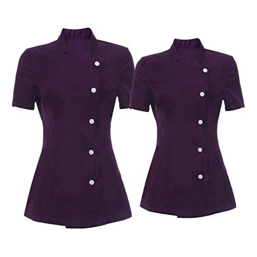 (Homyl 2pcs Durable Women's Purple Salon Tunic Beauty Nail Spa Uniform Health Work Wear Beautician S L)