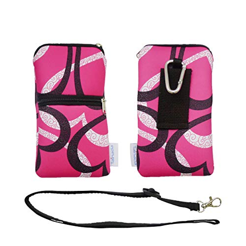 Tainada Women Ladies Phone Neoprene Shockproof Two Zippered Sleeve Case Bag Pouch Carabiner, Neck Lanyard Strap,Holster iPhone Xs, XR, Xs Max, 8 Plus, Samsung S9+ & More (Hearts Pattern Pink)