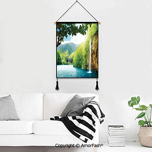 PUTIEN Wall Hanging Wall Décor,Waterfall Decor for Children Kid's Room Décor,Hotel,Dining Room Croatian Lake Landscape in Forest with Mountain View Background Artwork