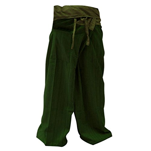2 Tone Thai Fisherman Pants Yoga Trousers Free Size Cotton Olive and Green by ''BestThaiComplex''