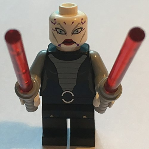 LEGO Asajj Ventress with 2 Red Lightsabers with Special Handle Included Star War's Minifigure New -
