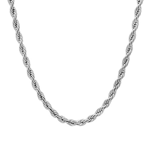The Bling Factory Durable Stainless Steel 3mm Rounded Spiral Rope Chain Necklace, ()