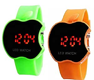 Swissrock Green and Orange Combo Apple Shape Kids Digital LED Wrist Watch