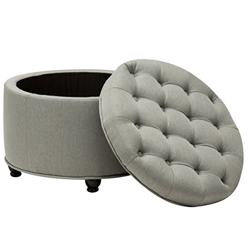 Round Button-Tufted Storage Ottoman Large Footrest Stool Cof