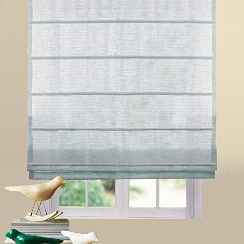 Artdix Roman Shades Blinds Window Shades - Azure Blue 37 W x 84L Inches (1 Piece) Linen Sheer Solid Fabric Custom Made Roman Shades for Windows, Doors, Home, Kitchen, Living Room ()
