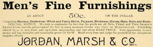 1898 Ad Harvard Lampoon Jordan Marsh Company Men Clothing Hosiery Neckwear Suits - Original Print - Stores Marsh White