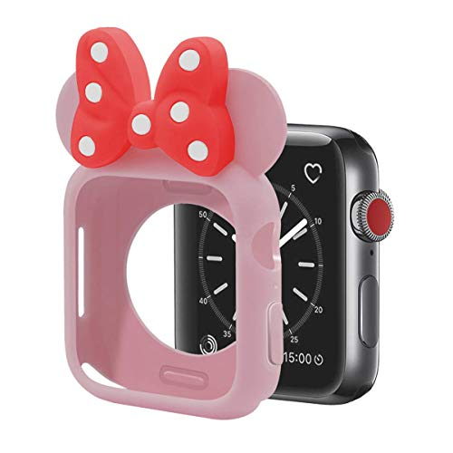 Cute Cartoon Soft Silicone Protective Frame Anti-Scratch Cover| Case Disney Character Minnie Mouse Ears Compatible with Apple Watch Series 4 and Series 3 (Pink - Red, 38mm or -