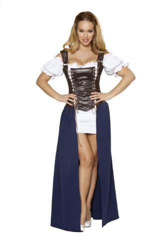 Roma Costume 4 Piece Seductive Serving Wench Costume, Brown/Blue/White, (Serving Wench Costumes Renaissance)
