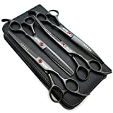 7.0in Titanium Black Professional Pet Grooming Scissors Set