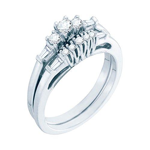 - 10k White Gold Three Stone Diamond Engagement Ring & Wedding Band Set Bridal Set Round & Baguette 3/8 ctw Size 9