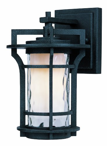 Maxim 30482WGBO Oakville 1-Light Outdoor Wall Lantern, Black Oxide Finish, Water Glass Glass, MB Incandescent Incandescent Bulb , 6W Max., Wet Safety Rating, 3000K Color Temp, Shade Material, 840 Rated Lumens ()