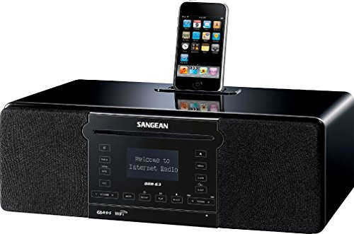 Sangean DDR-63 WiFi Internet Radio/FM-RBDS/Aux-in/CD/USB/SD All-in-One Tabletop Wooden Cabinet Musical System Compatible with iPod, Black, WiFi Internet Radio (over 15,000 Stations worldwide)/FM-RBDS Waveband by Sangean