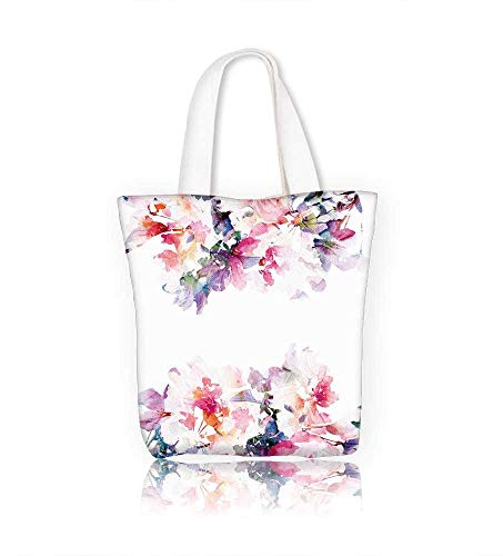 Canvas Zipper Tote Bag floral roses watercolor floral bouquet birthday card Reusable Canvas Zipper Tote Bag Printed 100% Cotton W21.7xH14xD7 INCH
