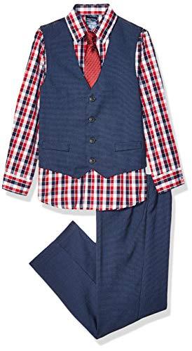 Nautica Boys' Little Four-Piece Mini Hounds Tooth Vest Set with Tie, Navy, 7X