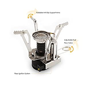 Camp Stove, Petforu Ultralight Portable Outdoor Camping Stove Hiking Backpacking Picnic Cookware Cooking Tool Set Pot Pan & Piezo Ignition Canister Stove & Canister Stand Tripod