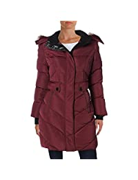 Noize Womens Kennedy Quilted Faux Fur Basic Coat