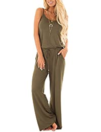 5b933d65d895 Women Casual Sleeveless Loose Wide Legs Jumpsuit Stretchy Srap Long Pants  Romper