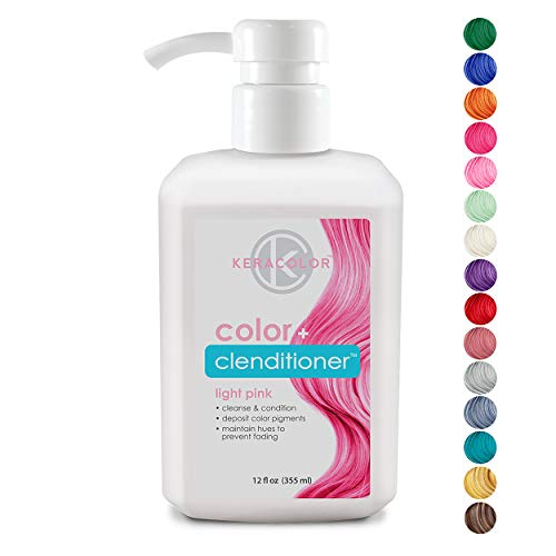Keracolor Clenditioner Color Depositing Conditioner Colorwash, Light Pink, 12 fl. oz. (Best Wash In Wash Out Hair Dye)