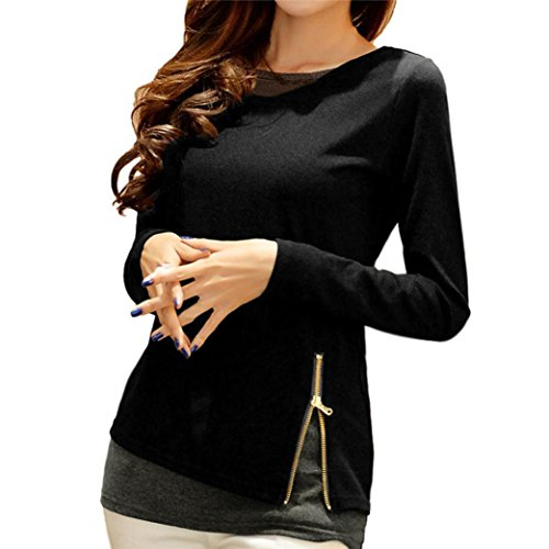 YANG-YI Clearance, Fashion Women Blouse Shirt Zipper Long Sleeve Blouse Tops Casual Cotton Shirts