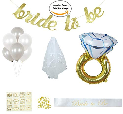 Bachelorette Party and Bridal Shower Decorations Set! Complete Kit Incl. Ring Foil Balloon, Bride Tribe Flash Tats, PhotoBooth Props, Banner, Veil, Sash, Ring Confetti, Balloons, Gold Backdrop