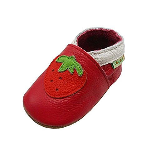 Sayoyo Baby Cute Strawberry Soft Soled Leather Baby Shoes Baby Moccasins(18-24 months ,Red)