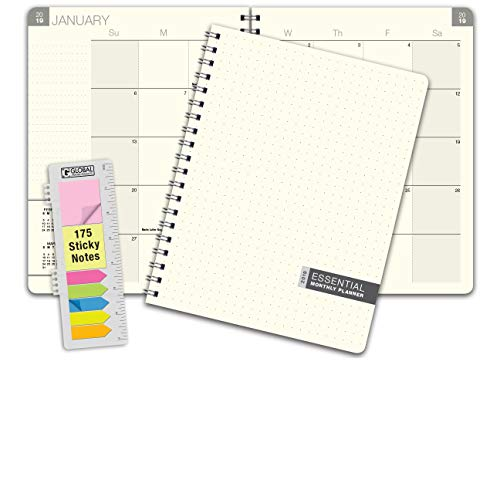 Essential 8.5x11 Monthly 2019 Planner - 14 Months (November 2018 Through December 31, 2019) - Professional, Simple, Easy-to-Use Design. Frosted Vinyl Covers for Extra Protection. (Binding Covers 11x14)