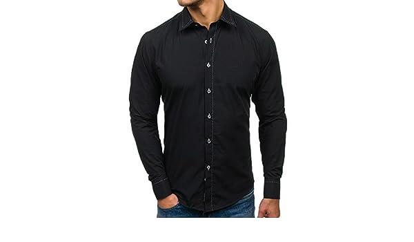 BOLF Hombre Camisa Elegante Abotonada 4719 Negro XL [2B2 ...