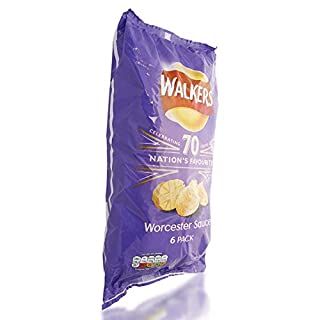 Walkers Worcester Sauce Crisps 6 Pack 150g