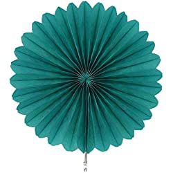 Gouache Decorative Wedding Party Paper Crafts 4''-12'' Paper Fans DIY Hanging Tissue Paper Flower Wedding Birthday Party Festival,PF19 teal,12inch